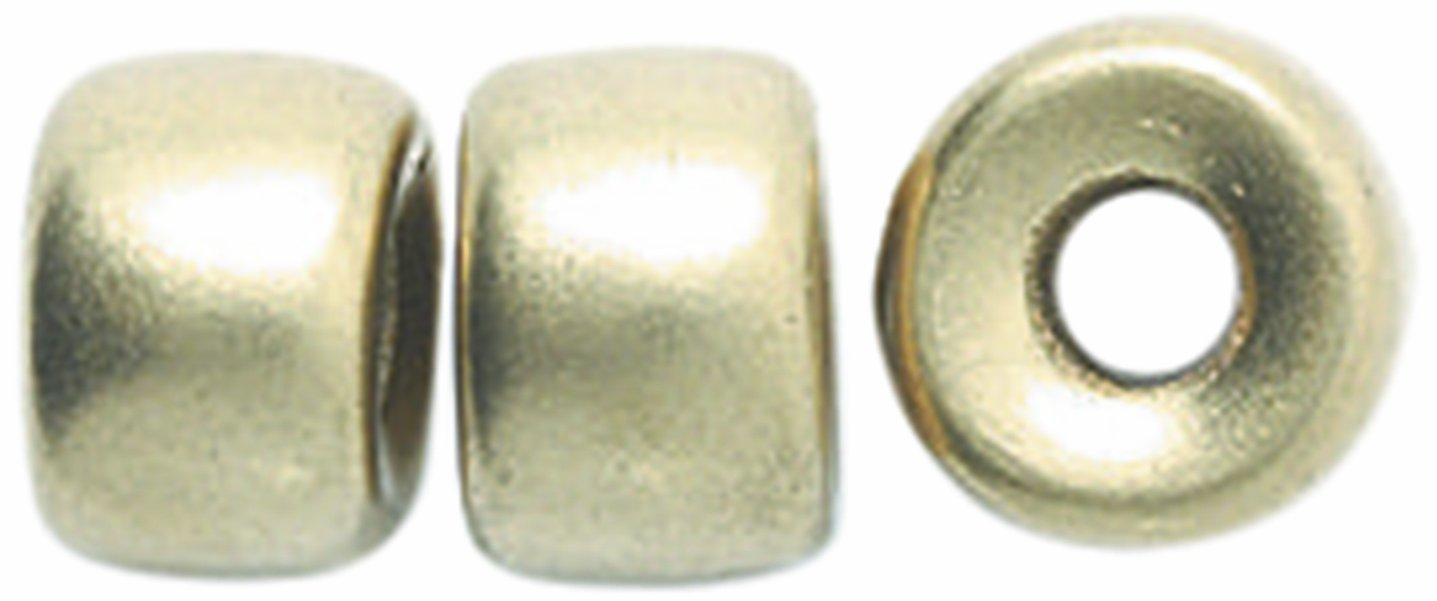 Preciosa Ornela Traditional Czech Glass Crow Roller 50-Piece Beads, 9mm, Silk Light Gold Shipwreck Beads 9RC952