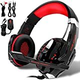 KOTION EACH GS900 Gaming Headset for XBOX 360 PS3 PS4 PC Computer Laptop Mobile Phones, AFUNTA Multi-function Over Ear Playstation 4 7.1 surrounded Headphone With Mic 3.5mm Jack Revolution Volume Control Noise Canceling--Black+Red