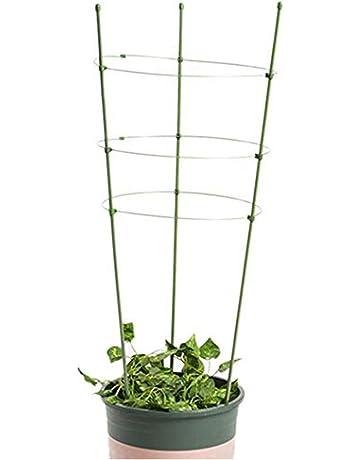Levoberg Soporte Planta de Guía de Acero con 3 Anillos Tuteur para Plantas Tomate Flor Jardín