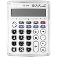 Music Function Electronic Desktop Calculator, Portable 12-Digits LCD Display Calculator Launchpad with Alarm Clock, Can Play Piano (Chinese Mandarin, Silver) (AR-7778)