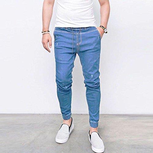 Tasche Confortevole Yying Per Pantaloni Vita Fit Skinny Lunghi Uomo Jeans Strappato Elastica Con Azzurro Moda Media Slim WqR4nvqI