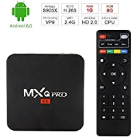 SIKAI MXQ Pro [Android 6.0] TV Box [Amlogic S905X] [Quan Core] [64-bit] [3D 4K HD] [2.0GHZ WiFi] [KODI 16.1] [1G RAM+ 8G ROM] [Cortex A53] [HDMI 1080P] [With Remote Control] [US Version]