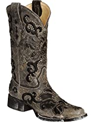 Corral Womens Studded Leather Inlay Cowgirl Boot Square Toe Black 7.5 M US