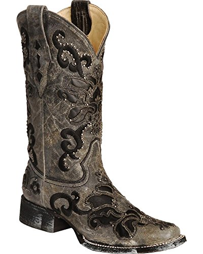 CORRAL Women's Studded Leather Inlay Cowgirl Boot Square Toe Black 8.5 M (Leather Inlay Cowgirl Boots)