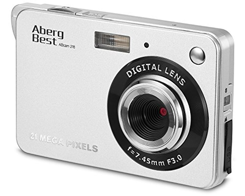 Aberg Best 21 Mega Pixels 2.7 LCD Rechargeable HD Digital Camera - Digital video camera - Students cameras - Handheld Sized Digital Camcorder Indoor Outdoor for Adult /Seniors / Kids (Silver)