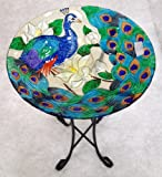 18%22 Peacock Glass Bowl%2Fbirdbath and