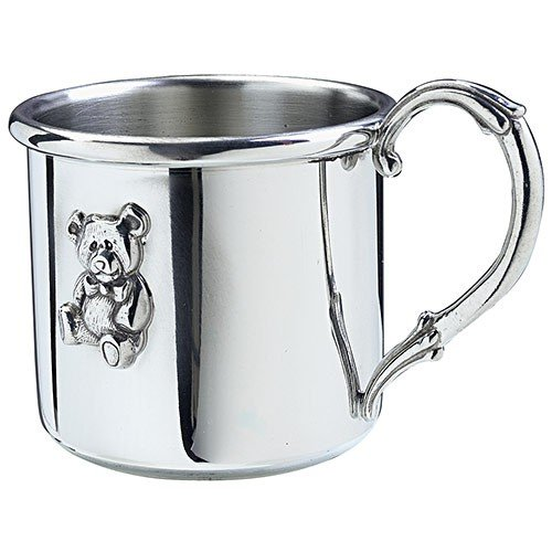 Salisbury Pewter Engravable Easton Baby Cup With Teddy