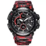 Psalmtrading SMAEL multi-function men's/women's Sports Analog Quartz Dual Display Waterproof Watches LED Backlight 1708 camouflage (red)