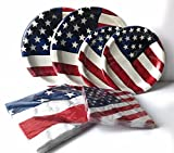 USA Flag Paper Plates and Napkins Set - Very Cute and Durable Patriotic Set of 32 Paper Plates and 32 Napkins Featuring USA Flag Theme - Great Value