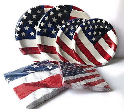 USA Flag Paper Plates and Napkins Set - Very Cute and Durable Patriotic Set of 32 Paper Plates and 32 Napkins Featuring USA Flag Theme - Great Value by RLP Marketing LLC