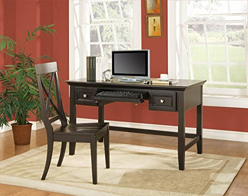 Oslo Writing Desk Set w X-Back Chair in Black by Steve Silver