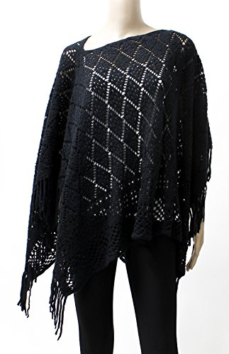 LL- Open Knit Chenille Short Asymmetric Pullover Poncho Sweater Top with Fringe (Black Diamond)