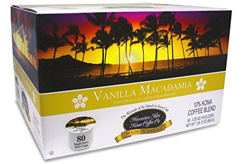 Hawaiian Sugar Vanilla - Hawaiian Isles Kona Coffee 80 Single Serve Coffee K Cups (Vanilla Macadamia)