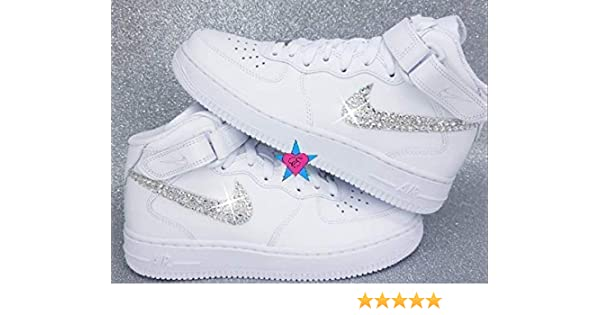 timeless design a4ada 44d8e Amazon.com  Sale - Custom Rhinestone Air Force 1   Bling Swoosh White Nike Air  Force One Tops   Crystal Air 1s  Handmade