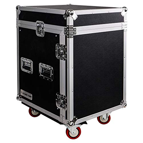 Sound Town 12-Space PA/DJ Pro Audio Rack/Road Case with Slant Mixer Top (STMR-12UW) from Sound Town