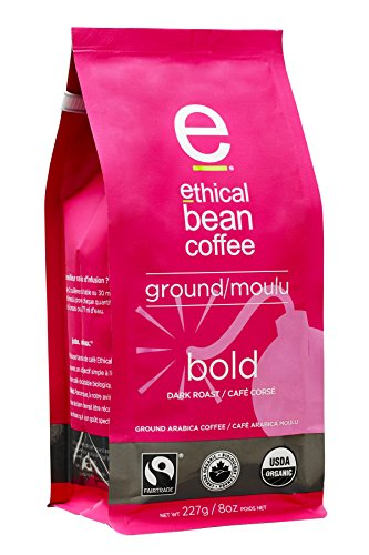 Ethical Bean Coffee Bold: Single Origin Dark Roast Ground Coffee - USDA Certified Organic Coffee, Fair Trade Certified - 8 ounce bag
