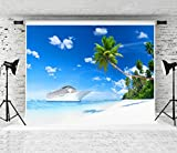 Kate 20x10ft Summer Beach Photography Backdrop White Cruise Sea Photo Background Palm Tree Studio Prop