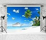 Kate 20x10ft Summer Beach Photography Backdrop White Cruise Sea Photo Background Palm Tree Studio Prop