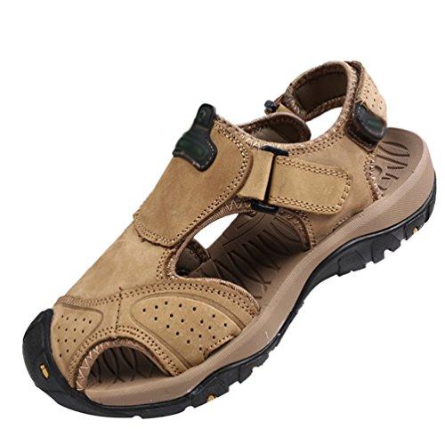 Hommes Chaussures Respirant Chenyang Plat Trekking Kaki Plage Sandales Fermé En De Randonnée Orteil Été CoeWrxdB