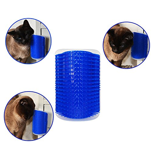 Cat Self Grooming Brush, Povkeever Wall Corner Massage groomer Self Groomer with Catnip Pouch Massage Perfect Tool for Cats