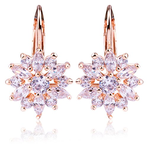 White Gold Snowflake - Bamoer 18K Rose Gold Plated Snowflake Earrings for Women Girls CZ Jewelry Lever Back Cubic Zirconia