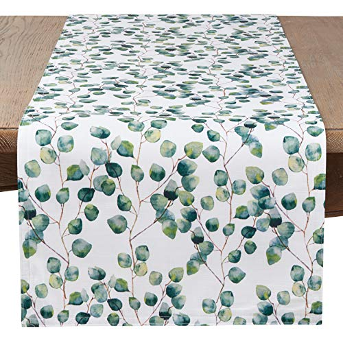 SARO LIFESTYLE 6144.EU1672B Eucalipto Collection Eucalyptus Leaf Table Runner, 16