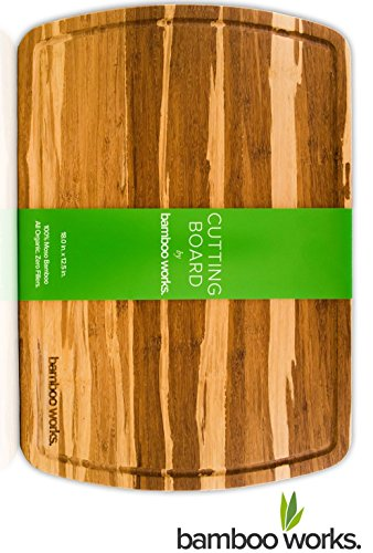 Professional Bamboo Wood Cutting Board and Cheese Board - Tiger Stripe - Organic and Antimicrobial - Extra Large 18 by 12.5 Inch Wood Serving Tray with Drip Groove by Bamboo Works