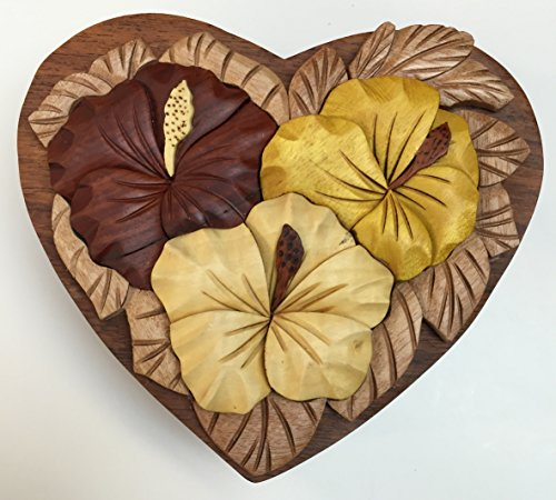 Wooden Hawaiian Hibiscus Puzzle Jewelry Box Design by Tiki