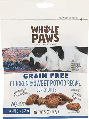 Whole Paws Grain Free Chicken & Sweet Potato Recipe Dog Jerky Bites, 5 oz