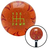 American Shifter 299533 Shift Knob (Green 6 Speed Shift Pattern - Gas 41 Orange Flame Metal Flake with M16 x 1.5 Insert)