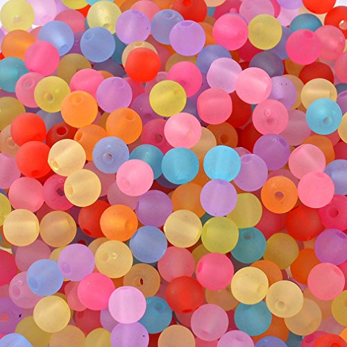 Souarts Pack of 1000pcs Mixed Acrylic Frosted Round Shape Loose Beads
