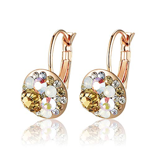 Multicolored Swarovski Crystal Earrings for Women Girls 14K Gold Plated Leverback Dangle Hoop Earrings (Yellow Main Crystal/Rose Gold-tone)