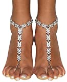 Bienvenu White Faux Pearl Rhinestone Foot Jewelry Beach Anklet Bridal Wedding Bangles Pool Party Accessories Set, Silver Style 3