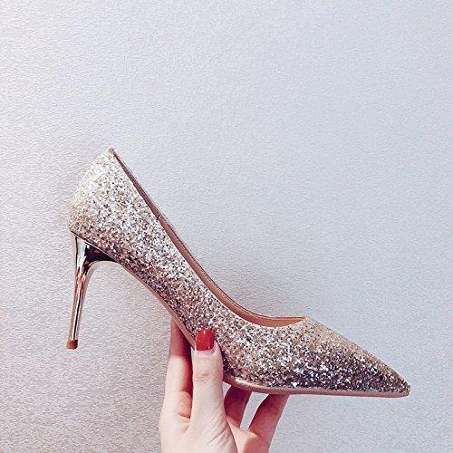 Xue Qiqi Zapatos de la Corte Zapatos de Novia de Plata Zapatos de Boda Zapatos de Mujer Zapatos Solos Femeninos Tacones Altos Femeninos Finos con 38, Oro Ligero 10CM 38|Oro claro 10C
