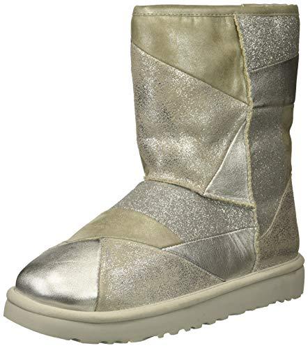 UGG Women's W Classic Glitter Patchwork Fashion Boot, Silver, 8 M US