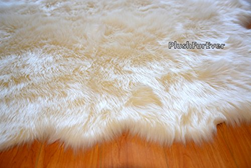 SC Love Collections Plush Sheepskin Octo Eight Pelts Warm White Shaggy Luxurious Home Accents Decor (5' x 7' feet)