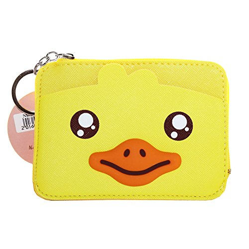 Leather Cute Wallet, ID Card Holder, Coin Pouch Purse Key Holder for Women and Girls (Duck Yellow) (Duck Coin)