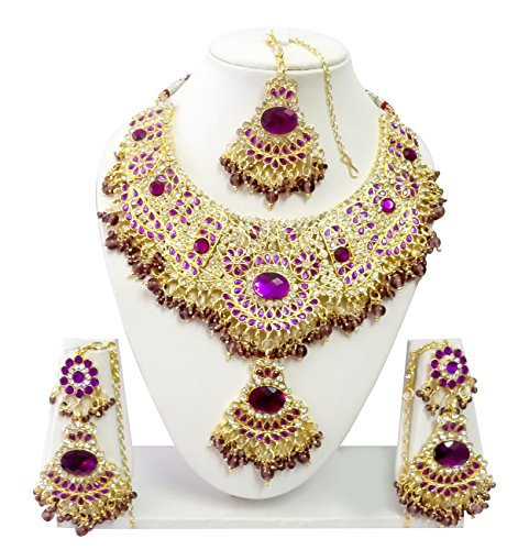 In Workmanship Indian Bollywood Jewelry Necklace Set Bollywood Ethnic Gold Plated Traditional Exquisite