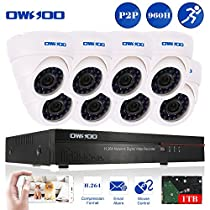 OWSOO 8CH 960H/D1 1TB Hard Drive DVR with 8PCS Night Vision Built-in Waterproof IR LED Indoor 800TVL IR Cameras Surveillance CCTV Security Camera System - White