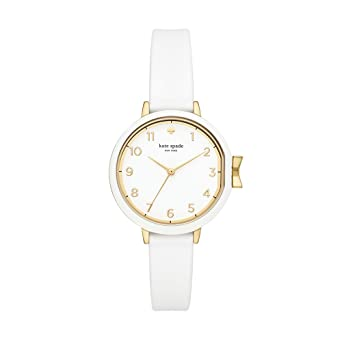 d41909e0f Amazon.com: kate spade new york Women's Park Row Stainless Steel Quartz  Watch with Silicone Strap, White, 12.25 (Model: KSW1441: Watches