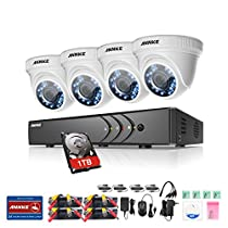 Annke 5-in-1 8-Channel 1080P Lite Security Video DVR and (4) 2.0MP Indoor/Outdoor Weatherproof Surveillance Cameras with 66ft Night Vision, Including 1TB HDD