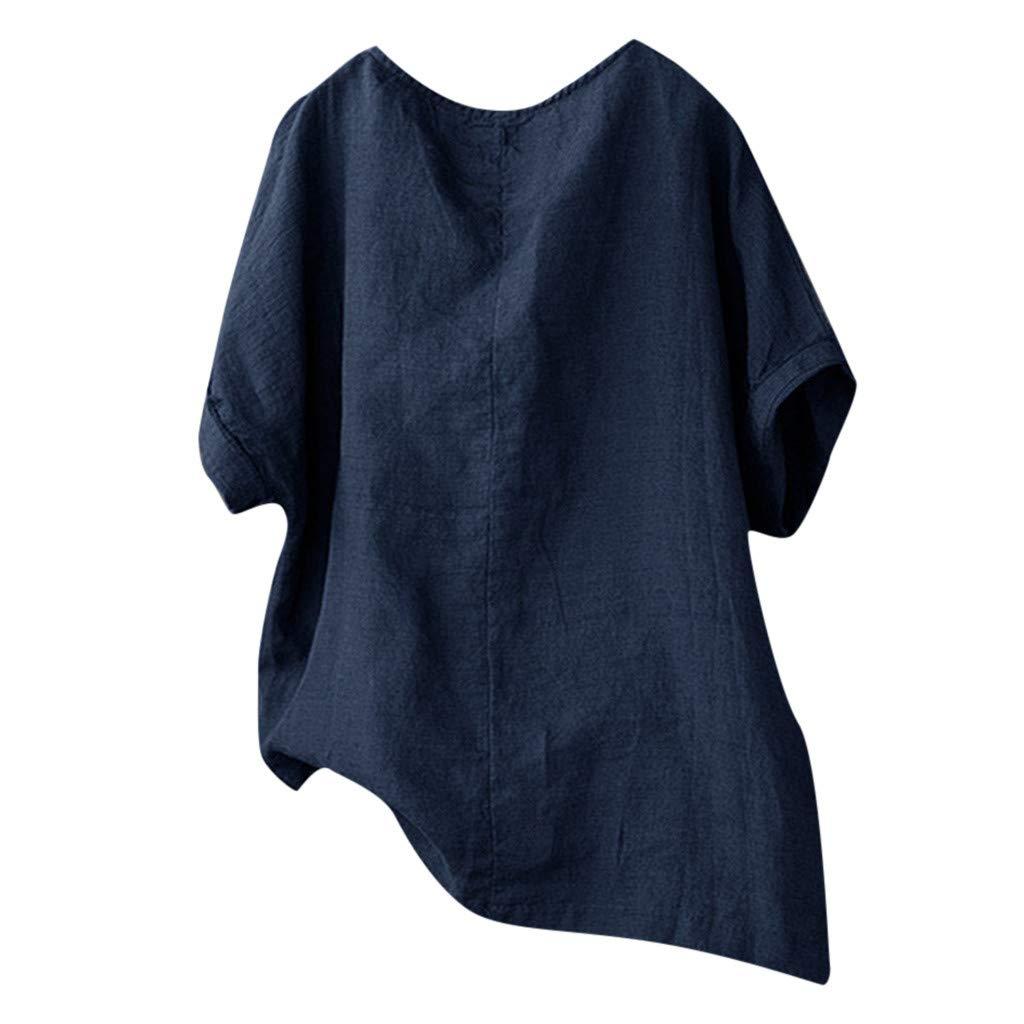 Darringls Printemps Top Femme Chemisier Coton et Lin Haut Manche Courte Chat Impression Chemisier Col Rond Pull Shirt en Vrac D/écontract/ée T-Shirt Grande Taille M-XXXXXL