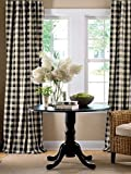 "lovemyfabric Gingham/Checkered 100% Polyester Curtain Window Treatment/Decor Panel-Black and White (2, 56""X84"")"