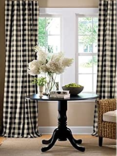 summer home check optional black lining tour rod pin or curtains pocket cotton and drapes buffalo blackout white