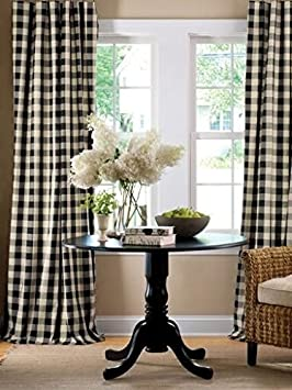 lovemyfabric Gingham Checkered 100 Polyester Curtain Window Treatment Decor Panel-Black and White 2, 56 X96