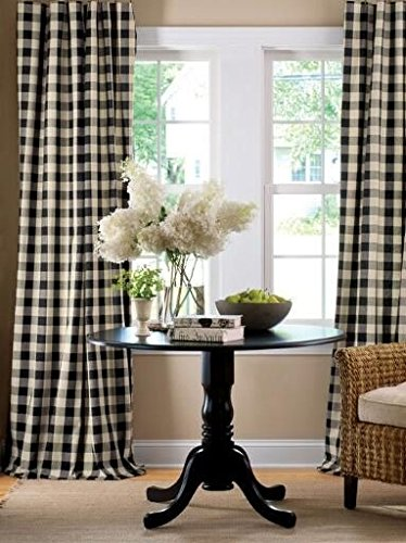lovemyfabric Gingham/Checkered 100% Polyester Curtain Window Treatment/Decor Panel-Black and White (2, -