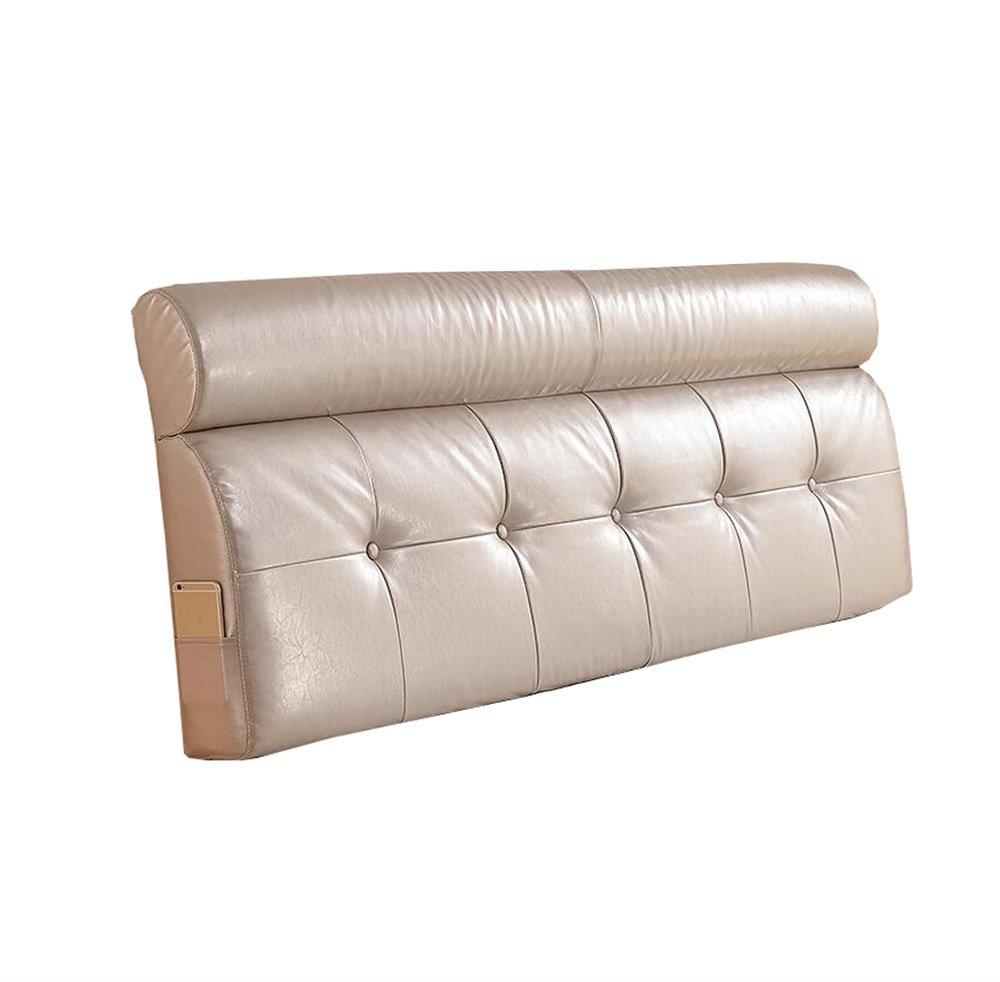 皮質ベッドサイド厚いクッション三角枕と長い背もたれ取り外し可能で洗濯可能な二重保護ウエストクッション枕を読む (色 : ベージュ, サイズ さいず : 185 * 60 * 12cm) B07DK1J28P 185*60*12cm|ベージュ ベージュ 185*60*12cm