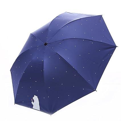 AchidistviQ - Mini Paraguas de Lluvia con diseño de Lunares de Dibujos Animados para Mujer,
