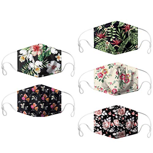 Pageantry 5PCS Adult's Washable Face Covering Reusable Mouth Cover Protection Anti-dust Print Bandana Covering Unisex