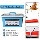 Hengmo 1/8'' (3MM) Fast Tile Leveling System Super KIT -1 pcs Pliers/Tool+300 pcs Clips+100pcs Wedges with Blue Tool case, lippage Free Tile and Stone Installation for PROs&DIYs